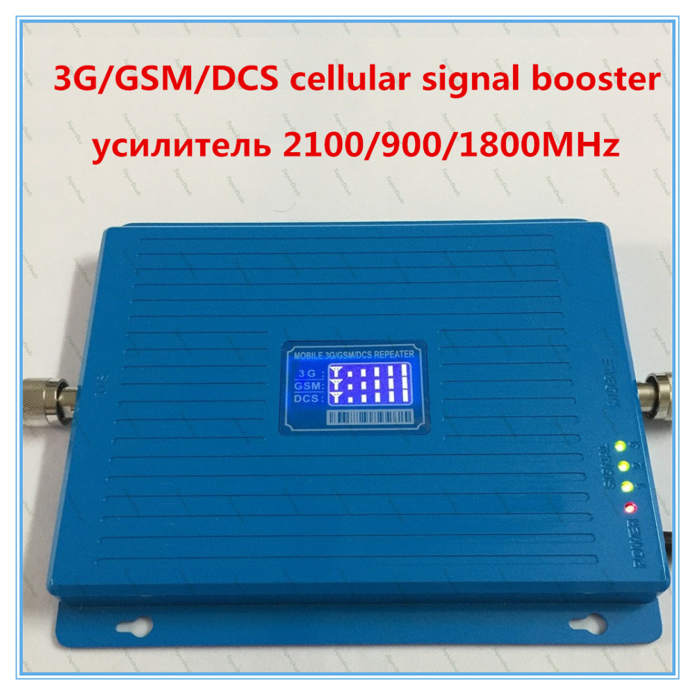 Haute Puissance Triple Fréquence Enhancer 2G 3G 4G Téléphone portable Amplificateur de Signal 900 1800 2100 MHz gsm répéteur de signal cellulaire booster