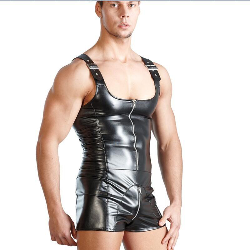 Plus Size Erotic Faux Leather Zipper Front Black Pole Dance Sexy Costumes Men Gay Underwear Bodysuit Catsuit Latex Underwear
