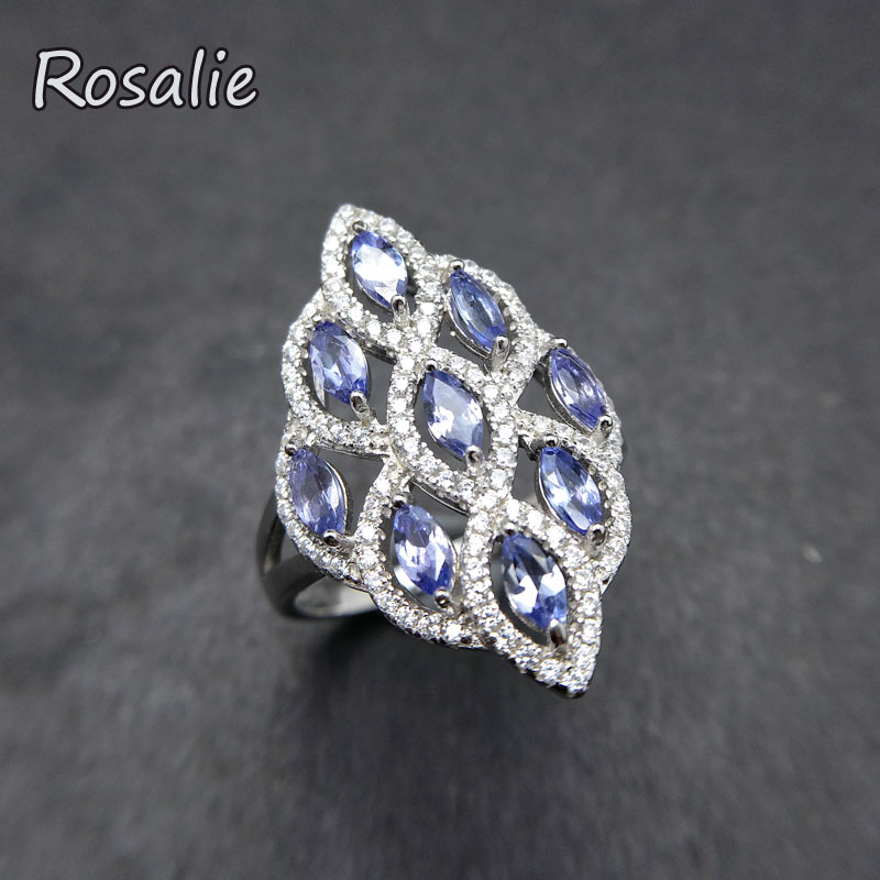 Rosalie,2018 new design rings with Natural blue Tanzanite gemstone elegant Ring solid 925 sterling silver for women best gift