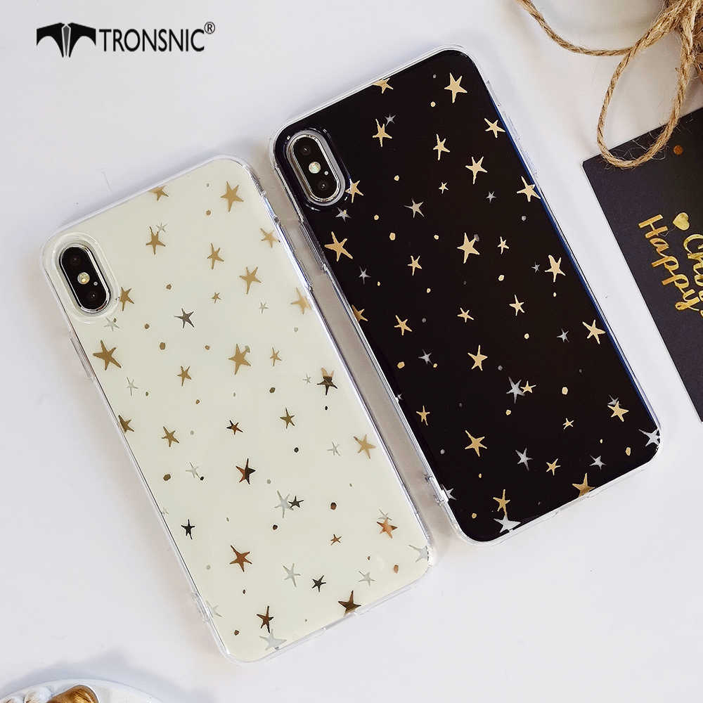 new product 68989 d74bf Tronsnic Luxury Gold Stars Phone Case for iPhone X XS MAX XR Soft Shiny  Case for iPhone 6S 6 7 8 Plus Silicone Cover Black White
