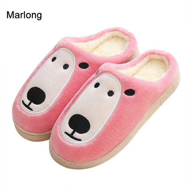 marlong women shoes winter warm indoor slipper cartoon cute dog