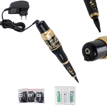 HOT  Permanent Makeup Machine Pen Machines Kits 30 Needles Tips Black Eyebrow Tattoo Machines Set Free Shipping