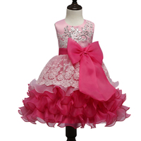 2017 New Brand Spring Baby Girls Dresses Sequins Embroidery Bow Girls Dress Princess Dress Lace Party