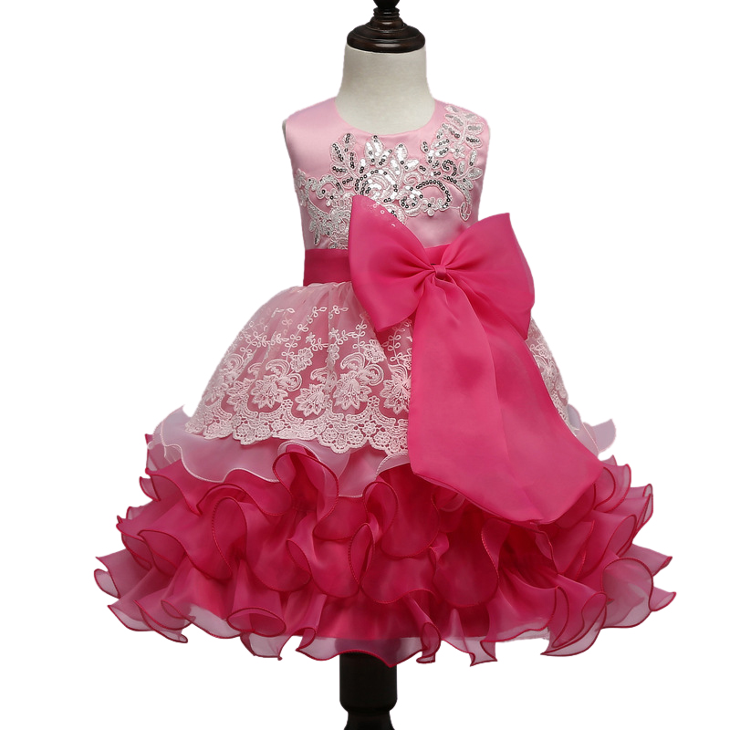 Brand summer baby girls dresses sequins embroidery bow girls Princess tutu Dress Lace party dress kids clothes toddler 9 10 age fashion kids girls toddler baby lace princess party dress clothes 2 7y