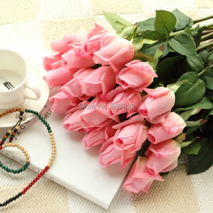 Light Pink Latex Real Touch Rose Bud Artificial Flower Wedding Party Home Decoration Bouquet Valentine S Day Free Shipping In Decorative Flowers