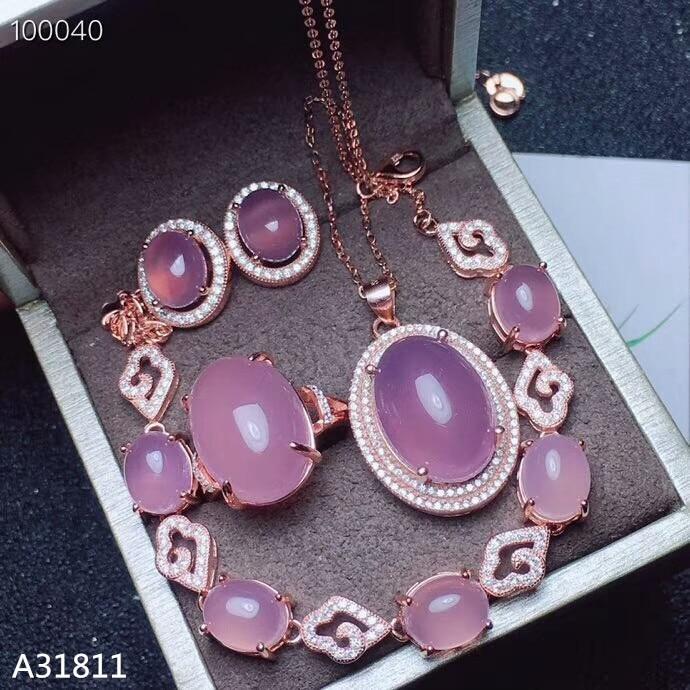 KJJEAXCMY bijoux fins, 925 pur argent incrusté poudre naturelle, calcédoine femmes costume pendentif anneau Bracelet boucle d'oreille 4 pièces de