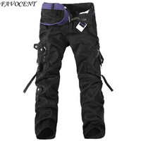 2014 Spring Casual Multi Pocket Overalls Pants Male Long Trousers Plus Size Sports Pants Cargo Camo