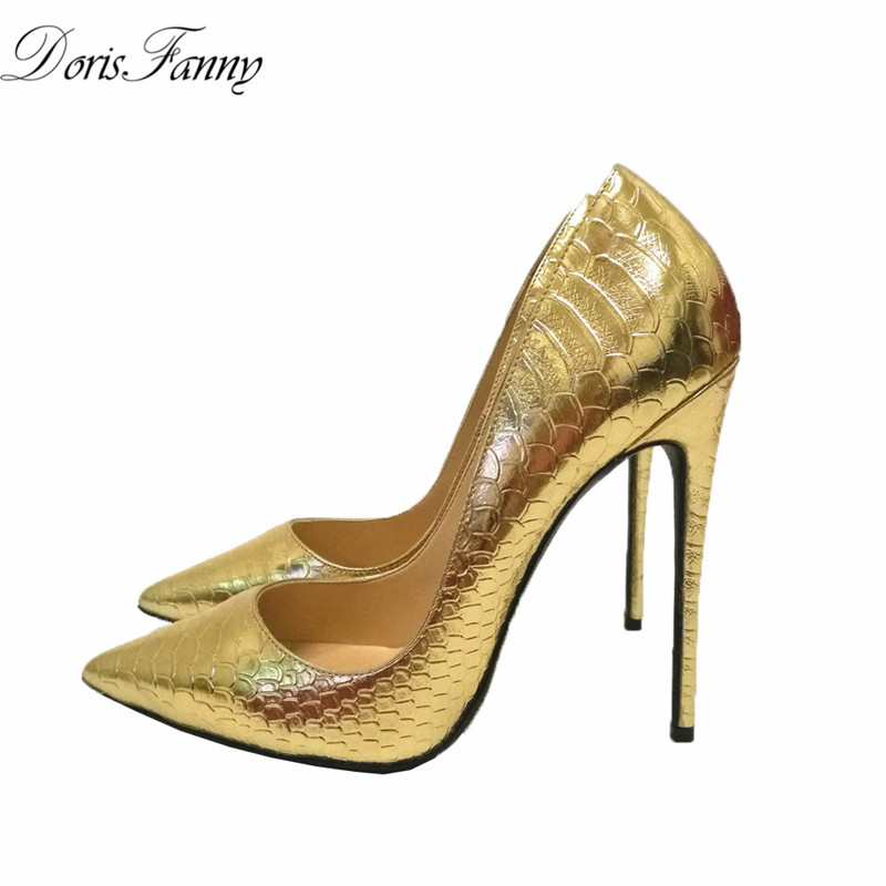 DorisFanny 2017 party gold wedding shoes women pointed toe sexy high heels pumps large small size