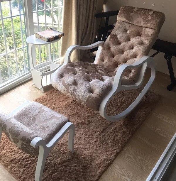Telas tapizado Sofás con reposapiés conjunto blanco madera acabado ...