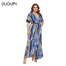 DUOUPA 2019 Summer New European and American V-neck Printed Slits Large Size Dress Beach Holiday