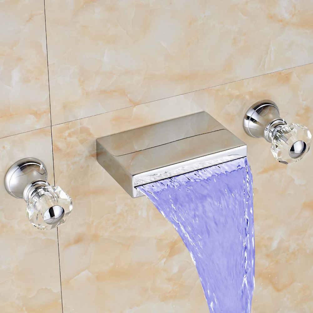 Uythner Widespread Waterfall Spout Crystal Handles Basin LED Color ...