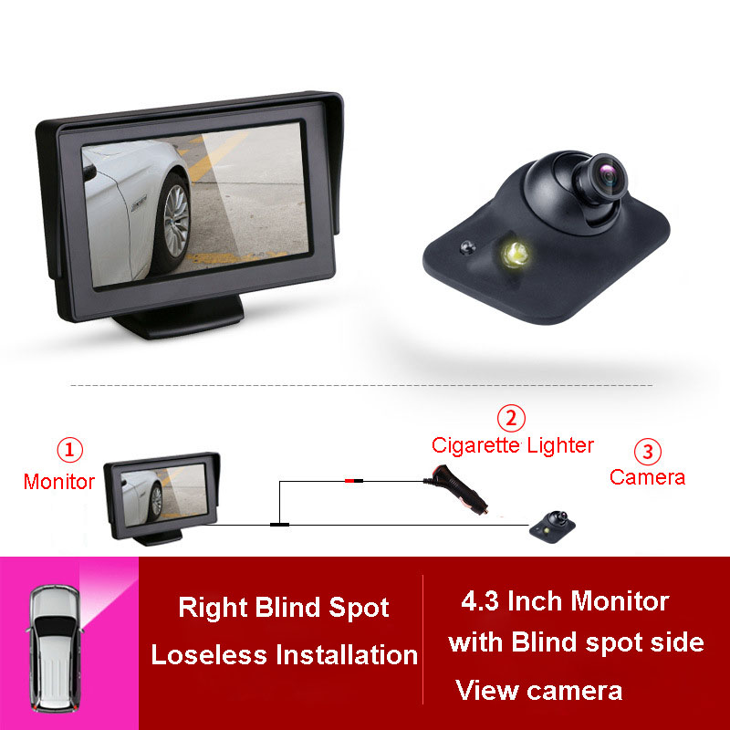 <font><b>4.3</b></font> <font><b>inch</b></font> HD Car Rear View <font><b>Monitor</b></font> Reversing LCD TFT Display with Night Vision Car Blind right Backup Rearview Camera for Vehicle image