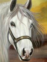 Full Mosaic Pasted Diamond Painting Animals DIY Diamond Embroidery White Horse Pattern 3D Cross Stitch Kits