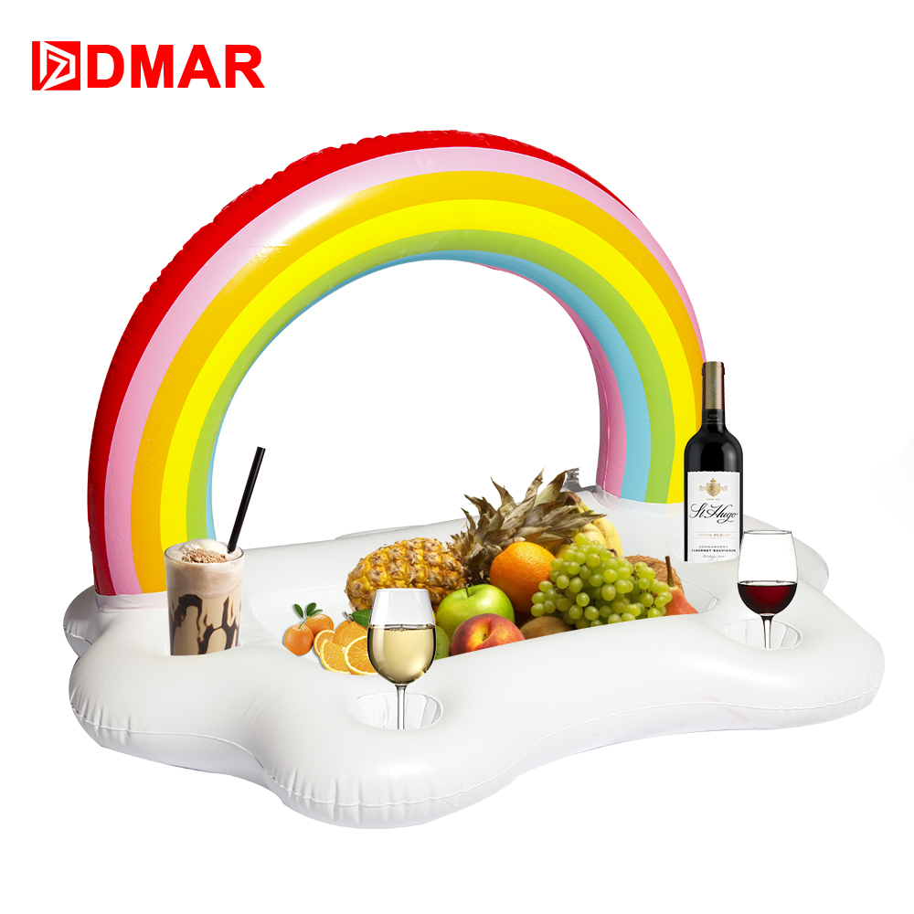 DMAR 91cm Giant Inflatable Rainbow Pool Drink Holder Float Toys Swimming Ring Circle Inflatable Mattress Beach Sea Adults Kids