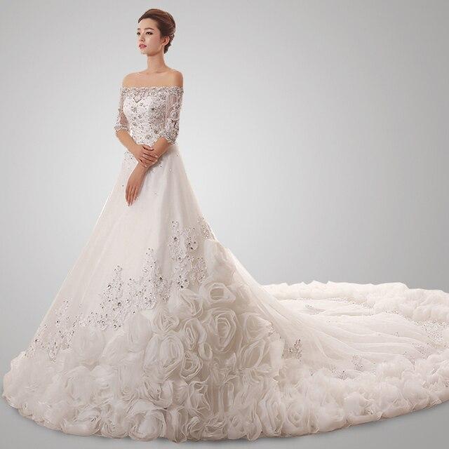 KSD041 Vestido De Noiva Super Luxury Vintage Wedding Gowns Long Sleeves A Line Big Train Dress Vestidos Novia 2017