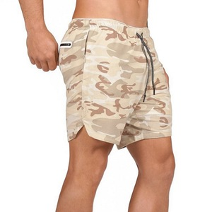 Image 4 - Mens Secure กระเป๋ากางเกง 2 ชั้นออกกำลังกายฟิตเนส Elastic เอวสั้น Quick drying Breathable 2 in 1 Joggers กางเกงขาสั้น