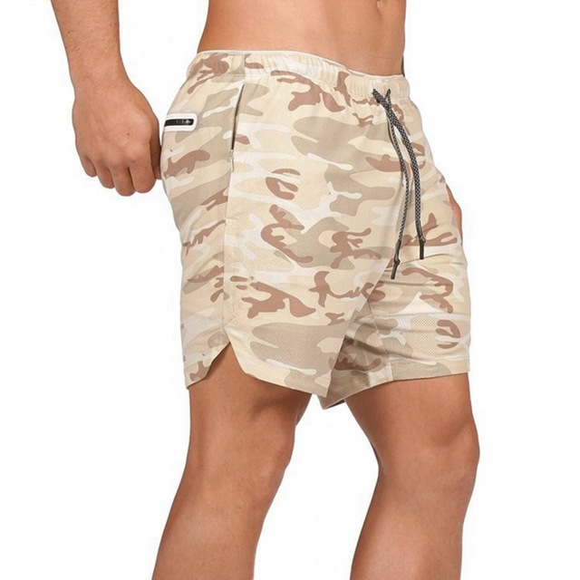 Mens Secure Pocket Shorts 2-Layers Workout Fitness elastic waist Short Quick-drying Breathable 2 in 1 Joggers shorts 3
