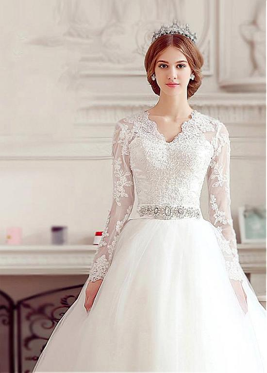 Wedding Dresses High Quality Long Sleeve Tulle Appliques Dubai With ...