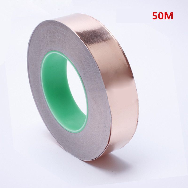 50M Double conductive copper foil tape conductive heatsink tape shielding tape high temperature strong copper foil thermal tape copper tape double sided conductive adolescent science education diy electronics smt circuit course materials package parts