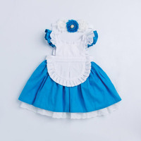 summer kids cosplay Cinderella dresses for girls white blue patchwork baby dress with flowers headband kids party princess dress