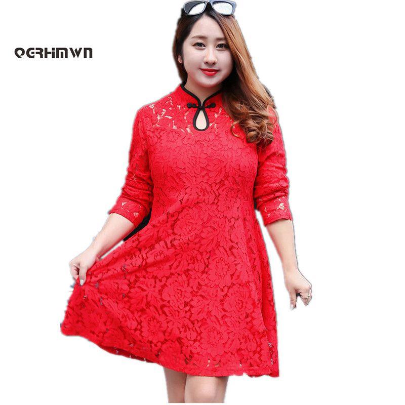 Women's Spring Autumn Lace Cheongsam Dress High Waist