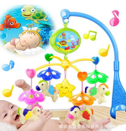Rattle Baby Toys Carousel Shape Rotating Musical Recreation Ground Baby Mobile Musical Bed Bell With 125 Music For  0-12 Months