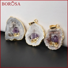 Gold Plated Natural Color Freeform Onyx Druzy Drusy Agate Slice Pendant Inlay Amethyst WX007