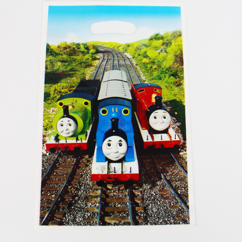 10 pcs/set Novelty Cartoon Thomas Train railway scenery Gift Bags Children Birthday Party Wedding Decoration Candy Dessert Bag