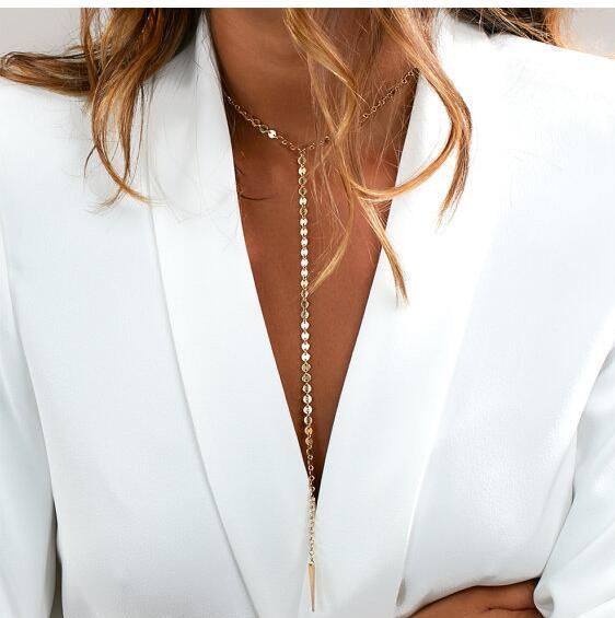 New  Fashion Disc Chain Necklace Choker Lariat  Necklace Taper Pendant necklace For Women Gift N206