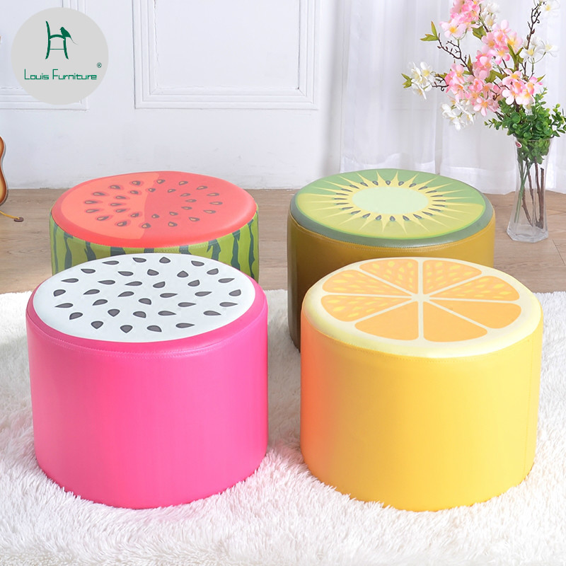 2019 New Style Louis Fashion Childrens Stool Soft Bag Baby Learn To Try Clothes Change Shoe Watermelon Cartoon Attractive Fashion Home Furniture Living Room Furniture
