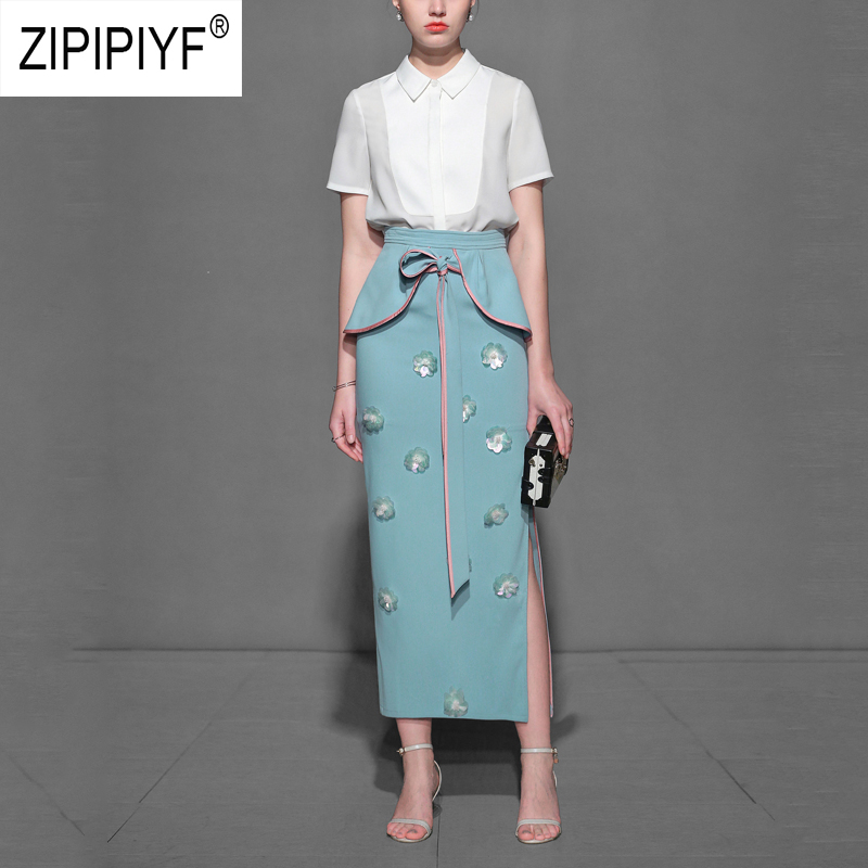 Elegant Fashion Women Two Pieces Sets White Short Sleeve Single-breasted Office Lady Blouse High Waist Embroidery Skirt Z1167