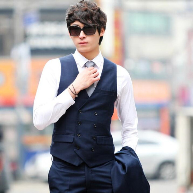 Double breasted men waistcoat black and blue wedding suits tuxedos ...