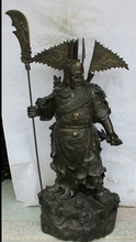 JP S0524 50″ Chinese Bronze stand Guan Gong Yu Warrior God knife sword general Statue B0403