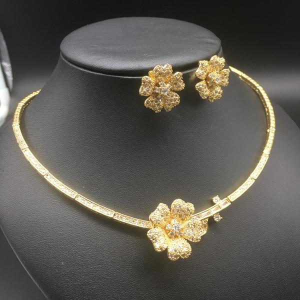 2018 NEW fashion exquisite elegant noble camellia zircon golden necklace earring set,wedding bride banquet dress dinner jewelry