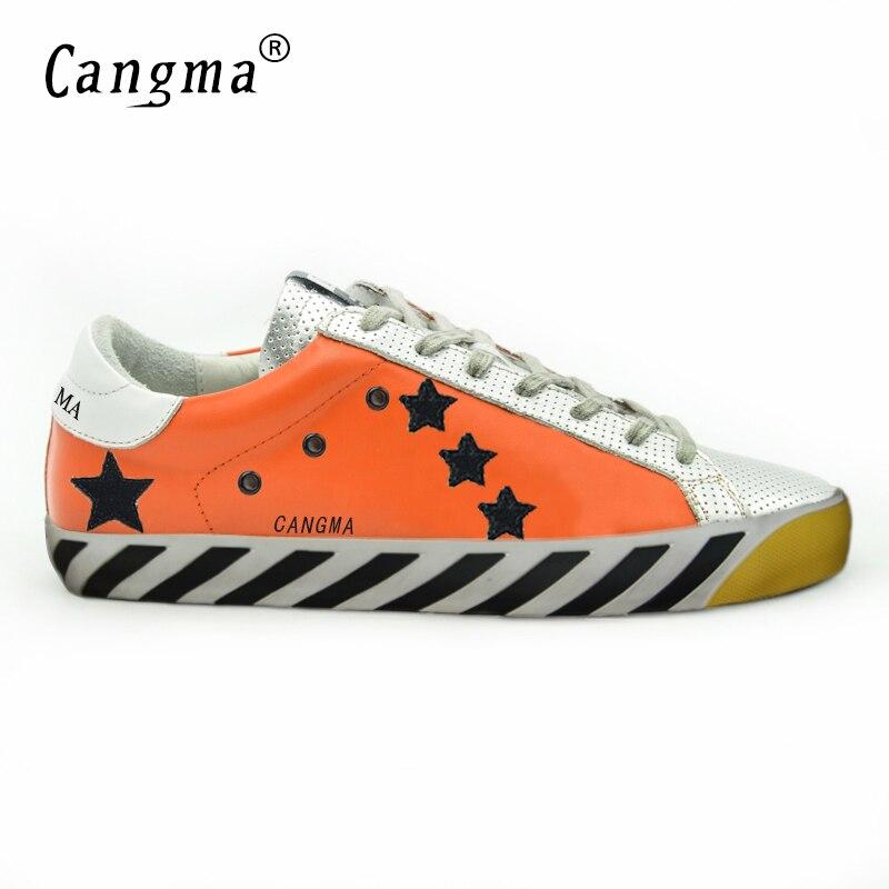 CANGMA Scarpe Uomo Superstar Luxury Men Shoes Genuine Leather Mens Casual Orange Sliver Platform Shoes Sapatos Masculinos Social hogan scarpe uomo
