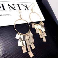 Simple New Woman Drop Earring Long Tassel Square Personality Big Circle Dangle Earring Accessories Fashion Jewelry