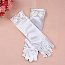 500pcs/lot New Child Flower Girl Kids Formal Dress Princess Dress Costume Accessories White Lace Bow Gloves