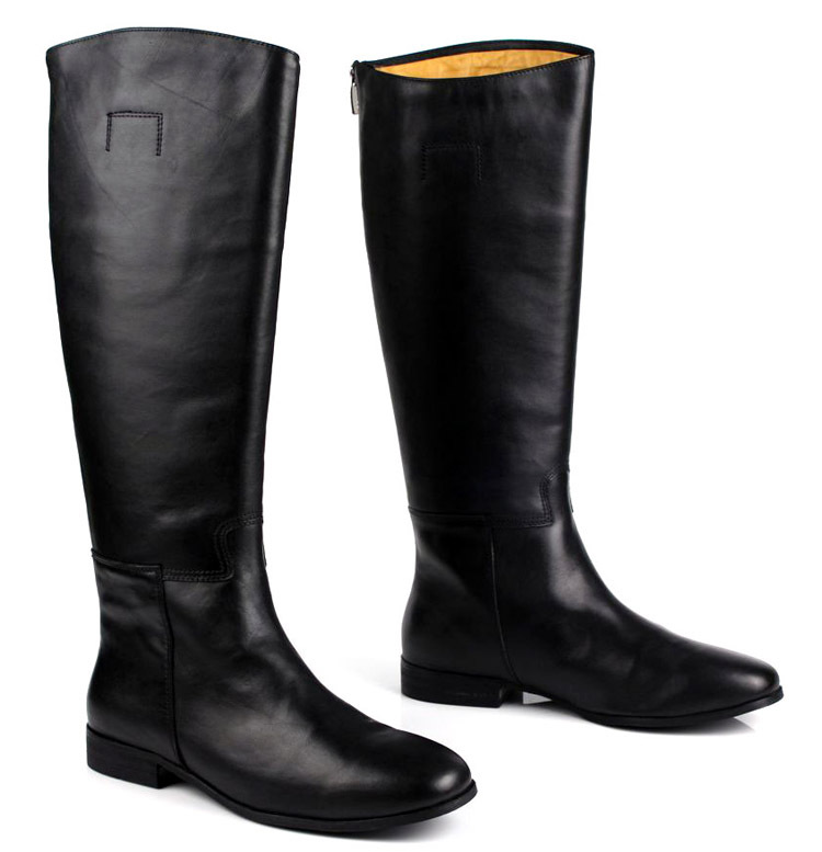 Large size EUR45 black over the knee mens boots genuine leather ...