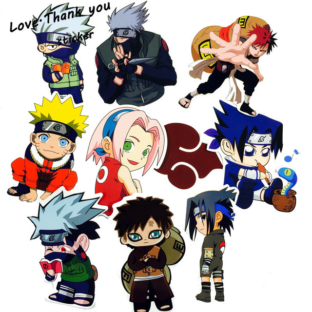 10 pcs lot waterproof japan anime naruto sticker for laptop car trunk skateboard guitar fridge