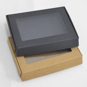 Image 2 - Boîte en Carton personnalisée blanche de 20 pièces pour emballage cadeau grandes boîtes en Carton papier brun noir grandes tailles boîte demballage Kraft avec fenêtre