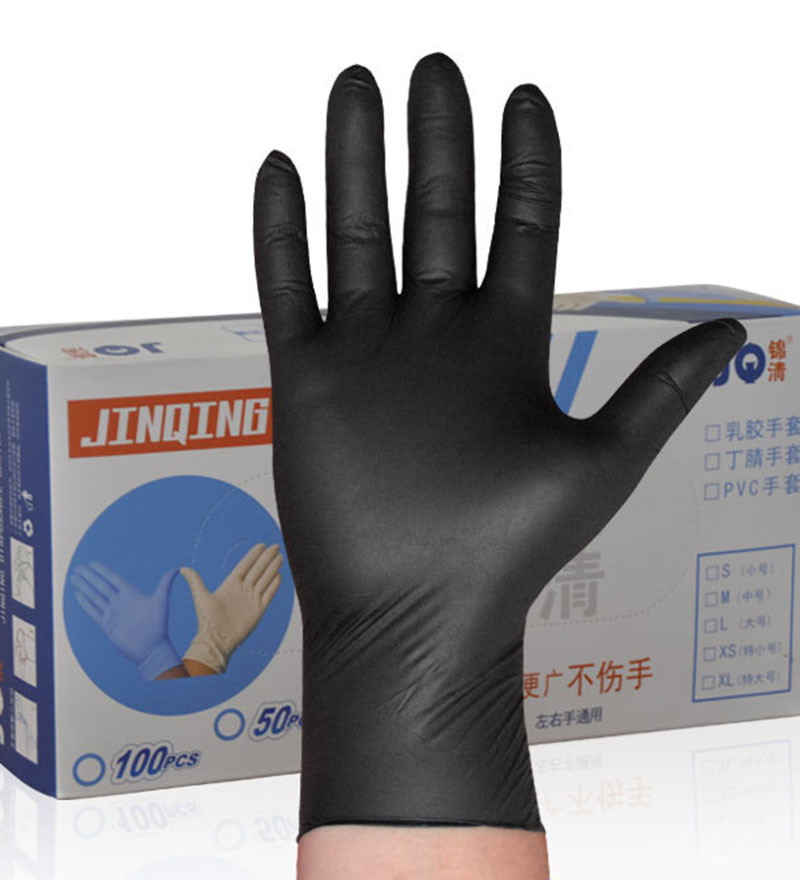 Glove Grade A Black Butyrene Disposable Latex Dental Experiment Rubber Housekeeping Cleaning