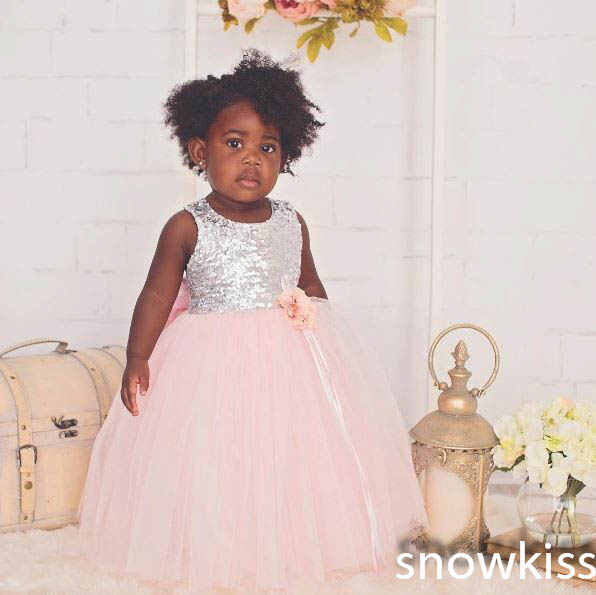 740547caeea Stunning Bling sequins blush pink tulle flower girl dress kids O neck bow  sashes ball gown baby girl dresses for birthday party-in Dresses from  Mother ...
