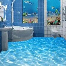 Современная ванная комната Пользовательский 3D пол фреска Морской воды рябь носить нескользящей водонепроницаемый утолщенный самоклеющиеся ПВХ Обои