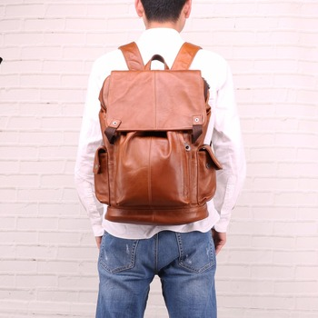 "2019 LuxuryGenuine Leather Back Vintage Daypack Travel Backpack Male Knapsack Men Backpack Man's 15.6"" Laptop Bags"