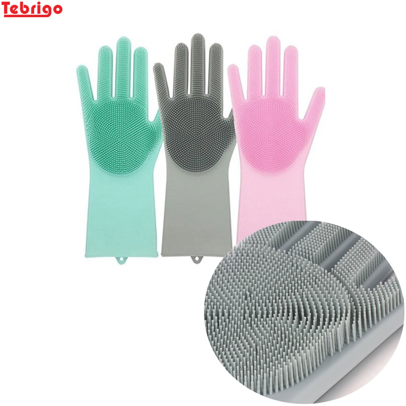 Tebrigo 2 Pack Magic Silicone Gloves with Scrubber Bathroom Cleaning Brush Gloves Dish Car Washing Pet Hair Care Household Clean