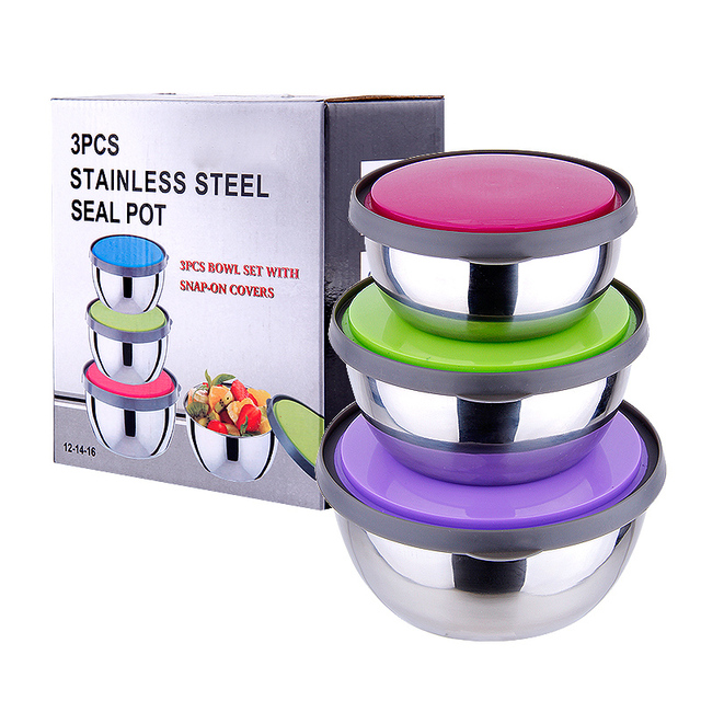 Free Shipping 2015 Korean 3pcs/lot Stainless Steel Magnetic Bowl Fresh Box  Food Container For