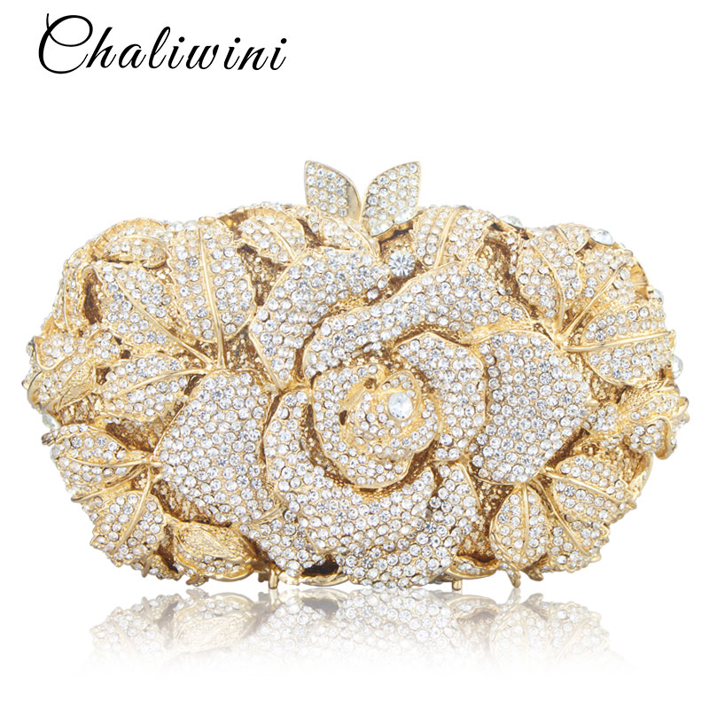 Luxury Hollow Out Crystal Floral Diamond Evening Clutch Bag Champagne Evening Bag Party Wedding Purse Soiree Pochette Purse luxury crystal clutch evening bag silver and champagne party purse women wedding bridal handbag pouch soiree pochette bag