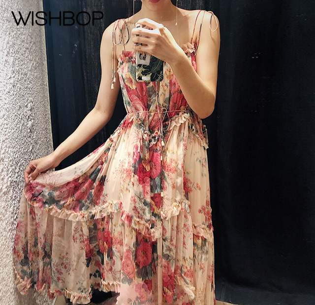 58df98b63358e US $188.07 5% OFF|2018 New Silk Floral Print Tiered Ruffle Dress Stylish  Laelia Floating Asymmetric Dress With Shoestring Shoulder & Neck Ties-in ...
