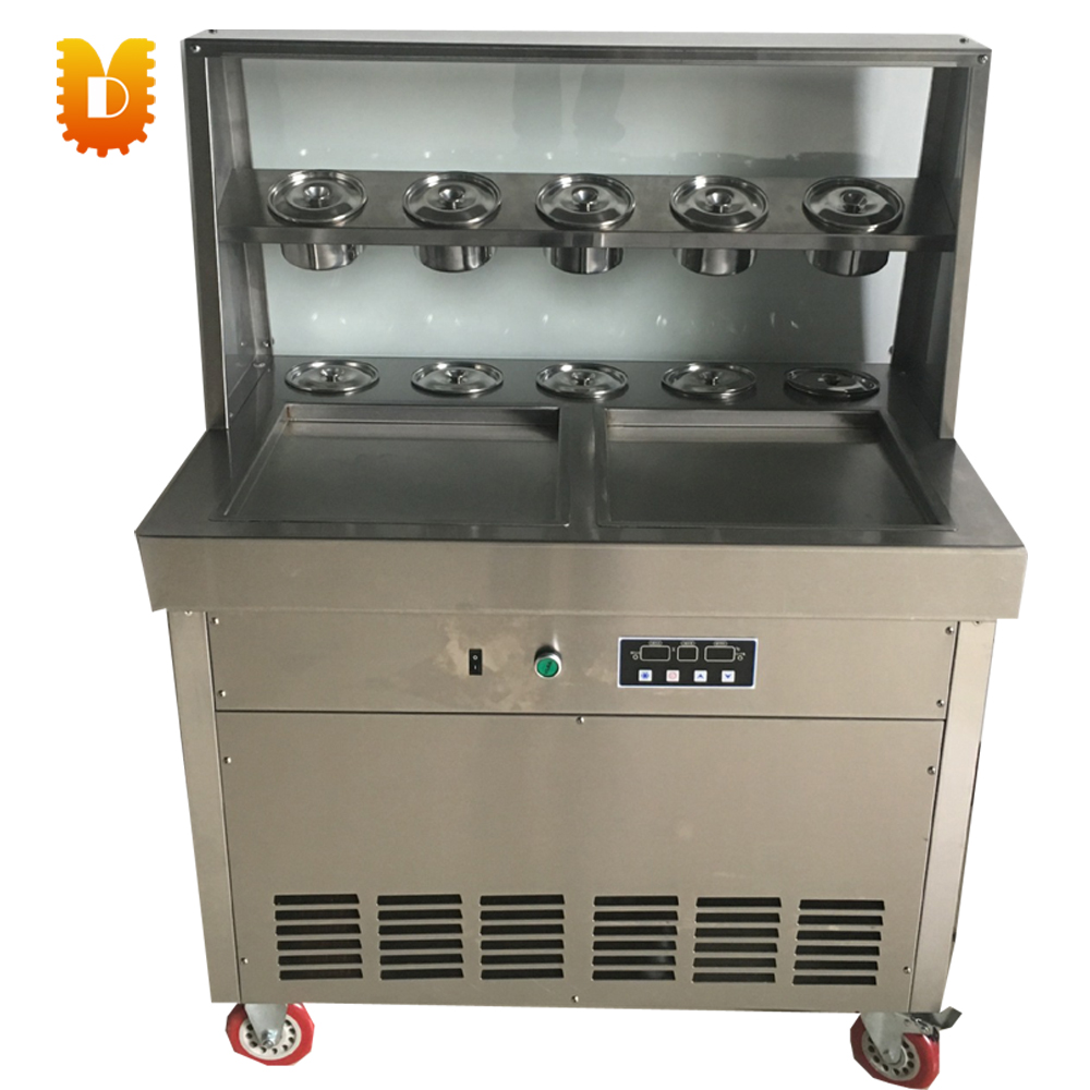 double square pan intelligent ice frying machine square pan rolled fried ice cream making machine snack machinery