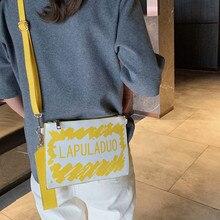 Женская маленькая квадратная сумка Для женщин, модная, с принтом из букв клатч Сумки через плечо, женские сумки с откидной крышкой мини монета сумка, сумка на плечо